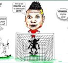 Cartoon: Asamoah Gyan penalty U-turn
