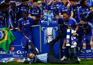 League Cup final | Full-time: Chelsea 2-0 Tottenham | Jose Mourinho does a full body slide to celebrate the victory.