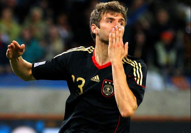 Thomas Mueller Offers Germany No. 13 Shirt To Michael Ballack
