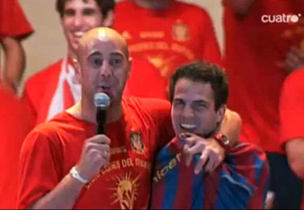 Arsenal skipper Cesc Fabregas wears Barcelona shirt as Spain celebrate World Cup 2010 triumph