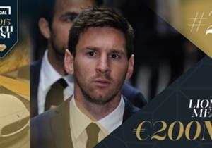 Messi tiene un contrato, sin contar impuestos, mayor que el de cualquier jugador del mundo, y se ha beneficiado de varias renovaciones con Barcelona. Su imagen limpia implica que sus acuerdos de patrocinio sean variados y lucrativos con marcas como Adi...