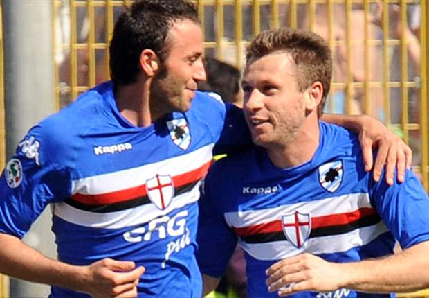 Photo of Antonio Cassano & his friend football player  Giampaolo Pazzini - Sampdoria
