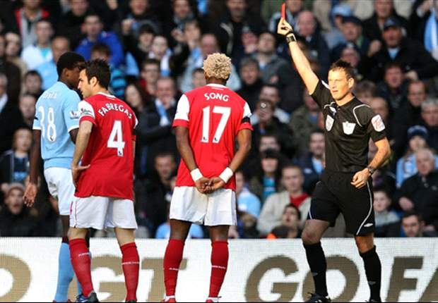 Manchester City 0-3 Arsenal: Boyata off early as Nasri, Alex Song and Nicklas Bendtner push Gunners into second place