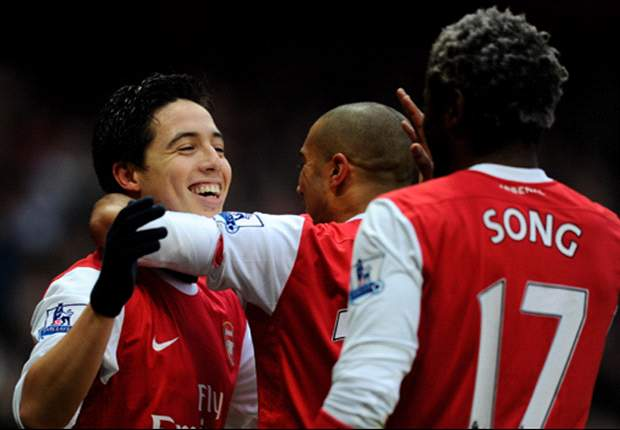 Arsenal 2-1 Fulham: Sensational Samir Nasri bags a brace as Gunners go top of the Premier League