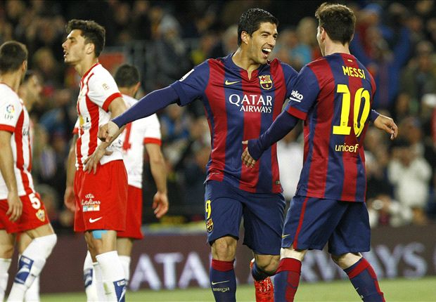 Barcelona 4-0 Almeria: Messi and Suarez brilliance seals three points