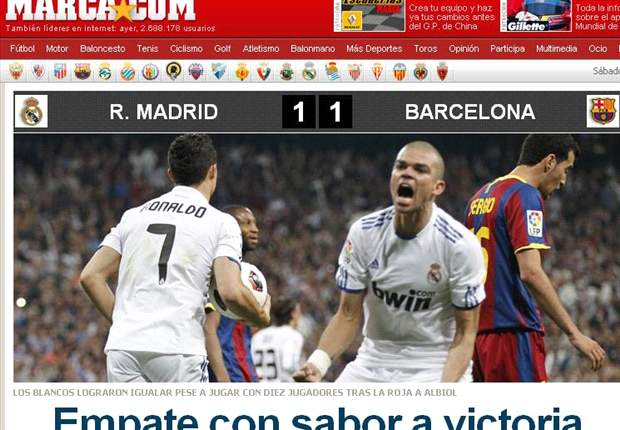 In Madrid, the title - the world reacts to 10-man Real Madrid's 1-1 draw with Barcelona