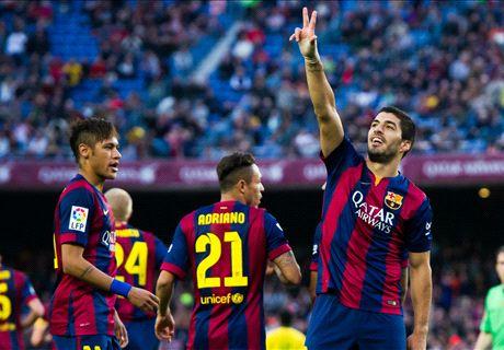 MSN shine as Barca hit six