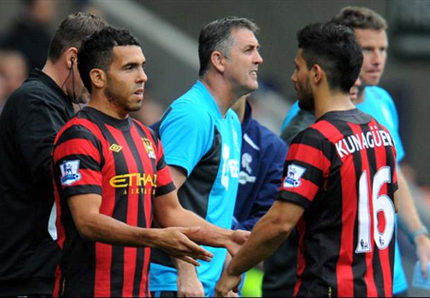 TEAM NEWS: Carlos Tevez starts up front alongside Sergio Aguero for Manchester City against Wigan Athletic