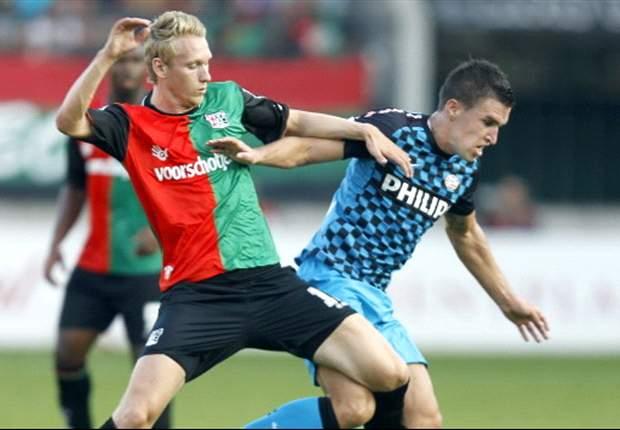 Nijland (left) while with NEC last Eredivisie season
