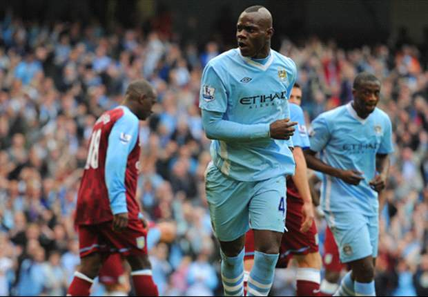 Manchester City 4-1 Aston Villa: Mario Balotelli overhead kick sparks rout to send hosts top of Premier League