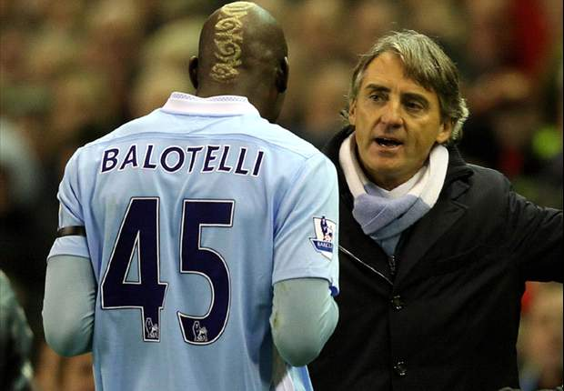 Manchester City's Roberto Mancini believes Liverpool players are to blame for Mario Balotelli red card