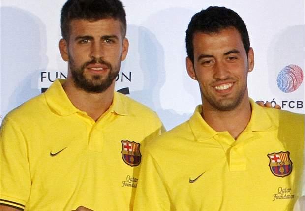Barcelona: Gerard Piqué, Sergio Busquets y Pedro, en Montmeló