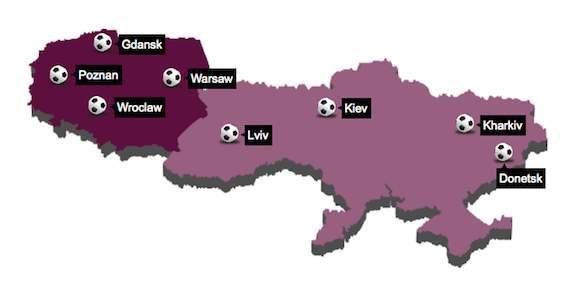 Euro 2012 map of Poland & Ukraine