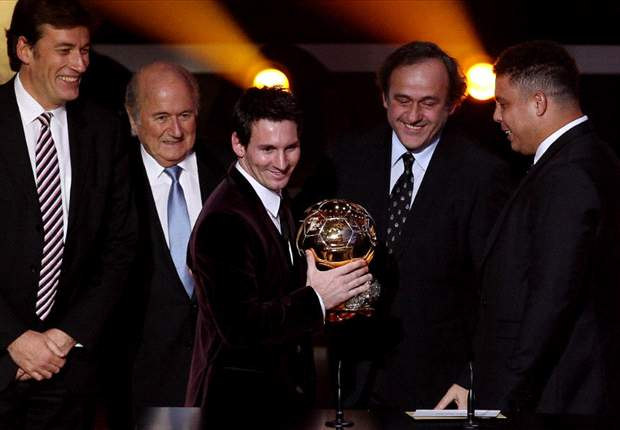 Barcelona's Lionel Messi beats Real Madrid's Cristiano Ronaldo & team-mate Xavi to win third straight Ballon d'Or