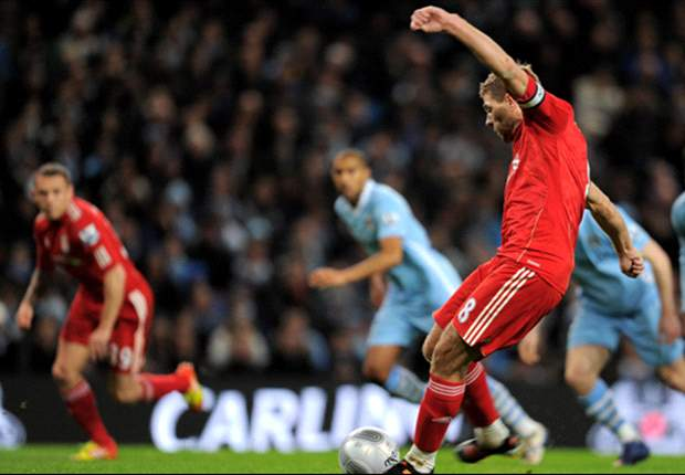 Manchester City 0-1 Liverpool: Steven Gerrard strikes from penalty spot to give visitors goal advantage ahead of second-leg