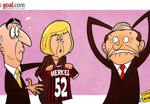 La vignetta di Goal.com - Al Milan arriva Merkel, Berlusconi non se l'aspettava...