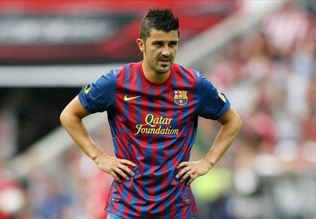 Barcelona's David Villa back in the gym as he continues rapid recovery from broken leg