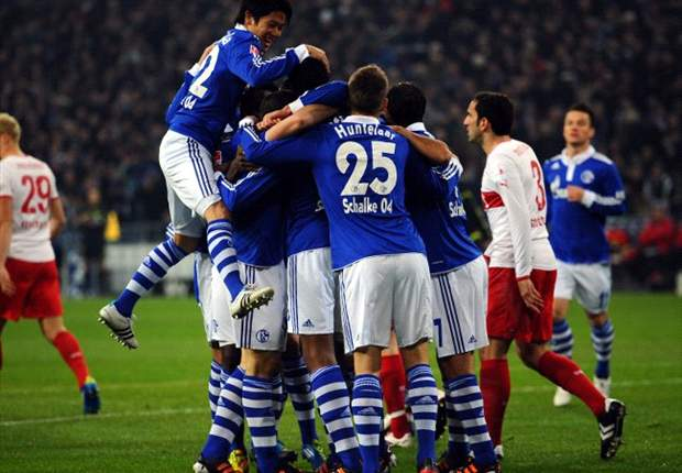 Schalke 3-1 Stuttgart: Huub Steven's side record convincing win to move level on points with Bayern Munich at top of Bundesliga