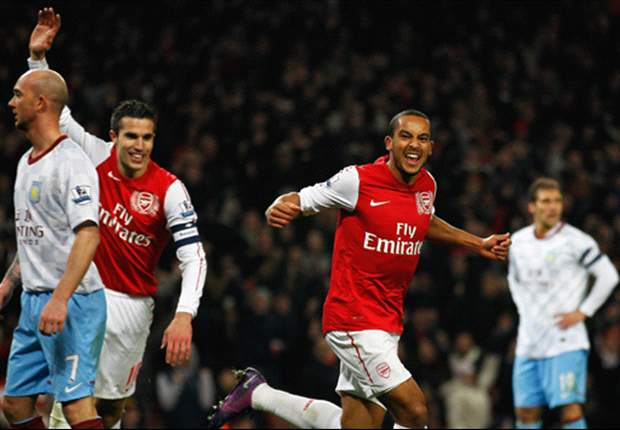 Arsenal 3-2 Aston Villa: Robin van Persie & Theo Walcott on target to overturn two-goal deficit & send Gunners through