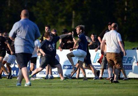 Leeds & Frankurt fans clash at friendly