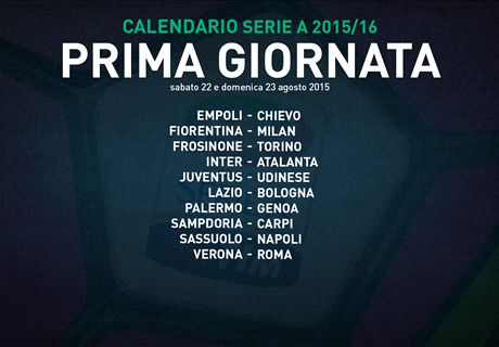 Serie A 15/16: si parte con Juve-Udinese