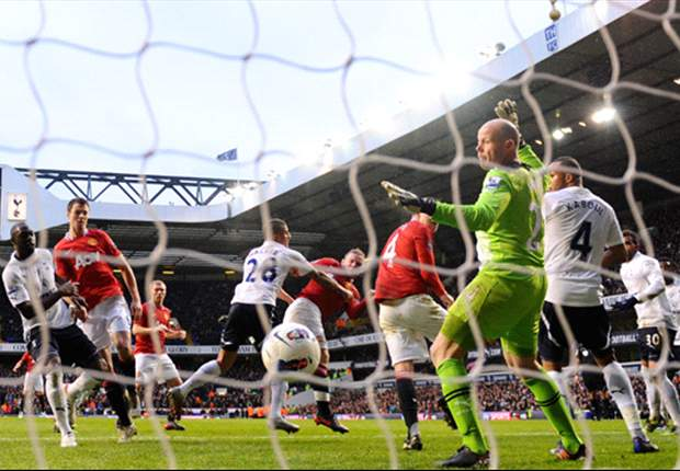 Tottenham 1-3 Manchester United: Two stunning Young strikes seal crucial win after Adebayor disallowed goal controversy