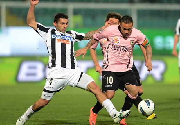 Udinese rettet Punkt in Palermo und steht vorerst auf Platz drei