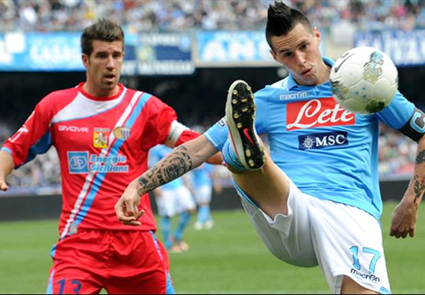 Napoli 2-2 Catania: Hosts lose ground on Champions League positions as visitors fight back from two goals down
