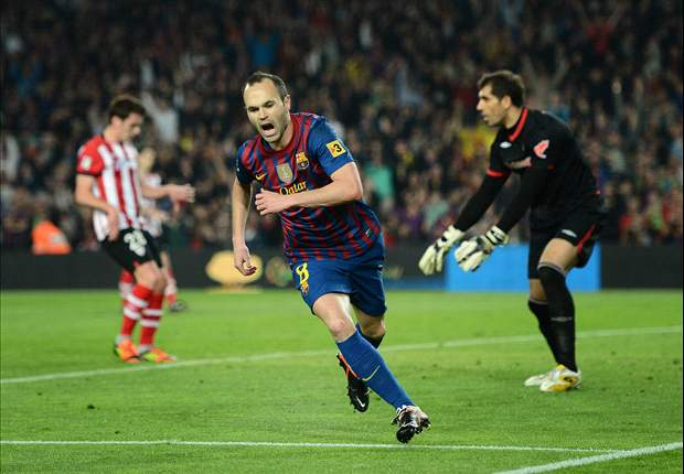 Barcelona 2-0 Athletic Bilbao: Iniesta and Messi goals see Catalans stay six points behind Real Madrid