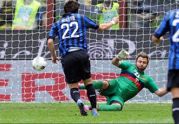 Inter 5-4 Genoa: Milito nets hat trick while Julio Cesar and Belluschi are dismissed as Nerazzurri edge fascinating nine-goal thriller at San Siro
