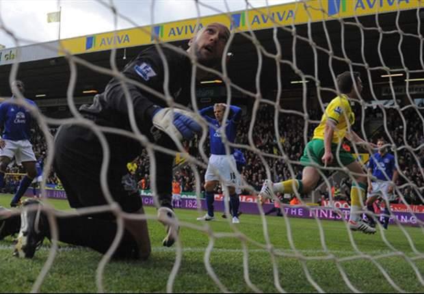 Norwich 2-2 Everton: Holt equaliser denies Moyes' men a victory despite Jelavic double