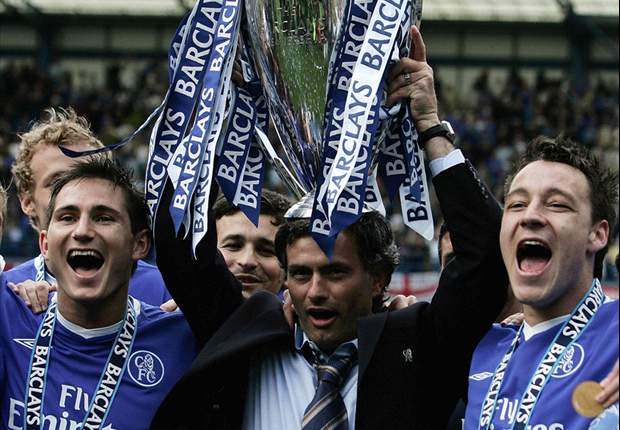 Jose Mourinho celebrates after winning the Premier League title