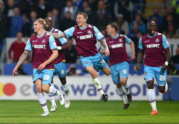 Cardiff 0-2 West Ham: Collison double gives visitors first-leg play-off advantage