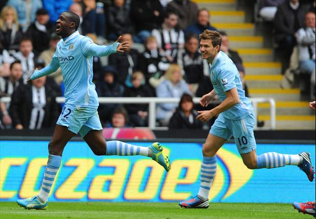 Newcastle United 0-2 Manchester City: Yaya Toure strikes crucial double as Mancini's side close in on title
