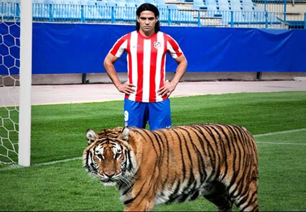 Radamel Falcao también se atreve con tigres de verdad en el césped del Vicente Calderón
