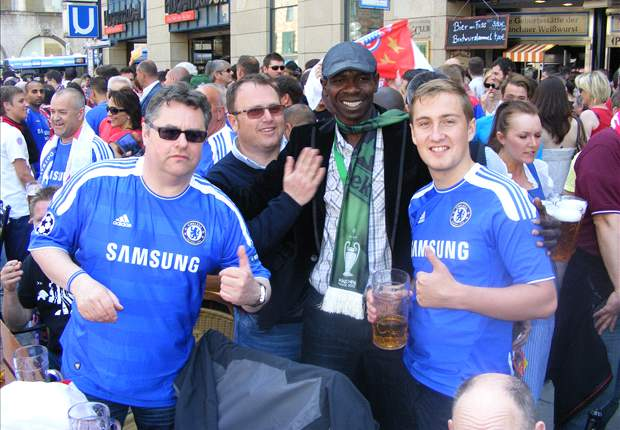 Abiodun Adewole with Chelsea fans at 2012 UCL final in Munich