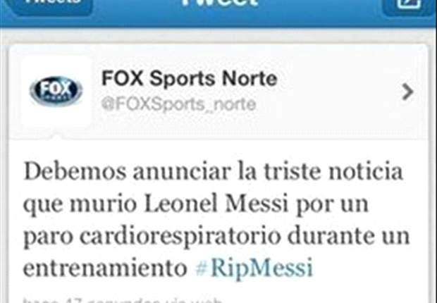 Fox Sports Twitter feed mistakenly declares Messi dead