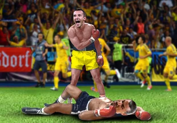Shevchenko dejó KO a Ibrahimovic en el Ucrania-Suecia
