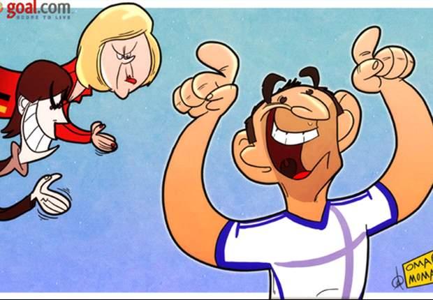 Cartoon - Le héros grec Karagounis met les siens sur la route de l'Allemagne