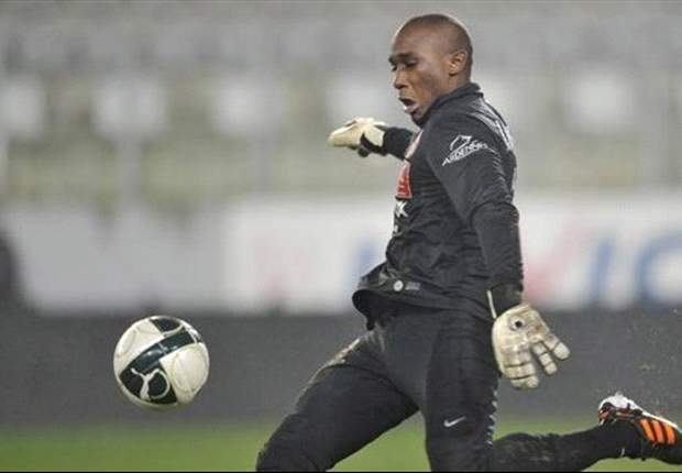 Central African Republic goalkeeper Geoffrey Lembet loses a tooth during Egypt clash