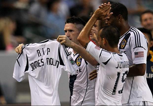 Robbie Keane pays tribute to the late James Nolan after scoring for LA Galaxy