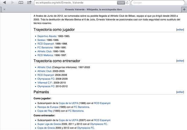 Wikipedia se 'carga' a Marcelo Bielsa y ya sitúa a Ernesto Valverde como gran favorito para el banquillo del Athletic de Bilbao