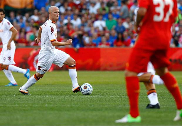 Michael Bradley scores for Roma against Liverpool in Fenway Park