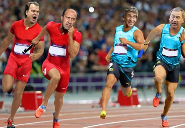 Marcelo Bielsa, Manuel Pellegrini, Lotina y Clemente participan en una divertida carrera de relevos