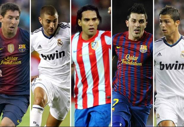 Lionel Messi, Cristiano Ronaldo y los cinco mejores delanteros de la Liga 2012/13