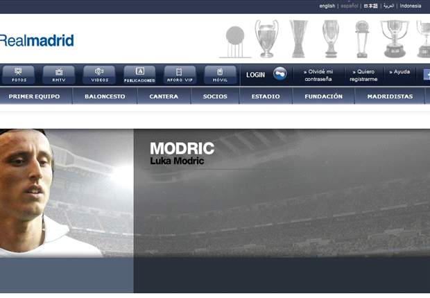 Real Madrid website posts Modric profile