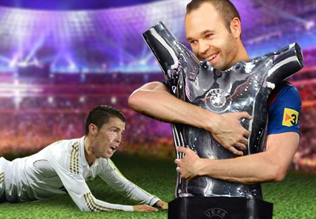 Cristiano Ronaldo llora mientras Andrés Iniesta se muestra feliz por ser el mejor jugador de Europa