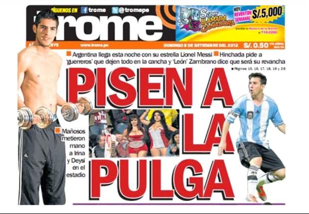 Messi é recebido no Peru aos gritos de 'Cristiano'