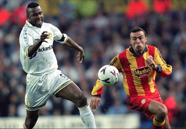 Lucas Radebe against Turkish giants Galatasary in the Uefa Champions League