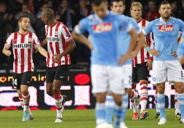 PSV Eindhoven 3-0 Nápoles: Vendaval holandés ante un pobre Nápoles